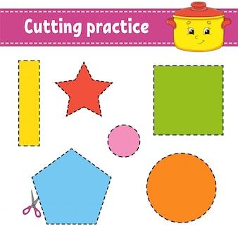 Pratica di taglio per bambini. foglio di lavoro per lo sviluppo dell'istruzione.
