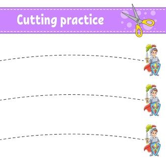 Pratica di taglio per bambini tema delle fiabe foglio di lavoro per lo sviluppo dell'istruzione