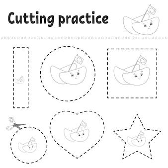 Pratica di taglio per bambini.