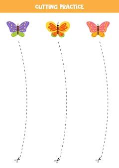 Pratica di taglio per bambini in età prescolare. tagliato dalla linea tratteggiata. farfalle simpatico cartone animato.