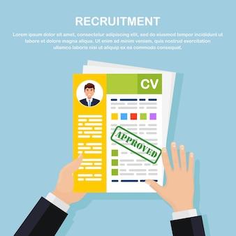 Cv curriculum aziendale in mano. colloquio di lavoro, reclutamento, ricerca del concetto di datore di lavoro