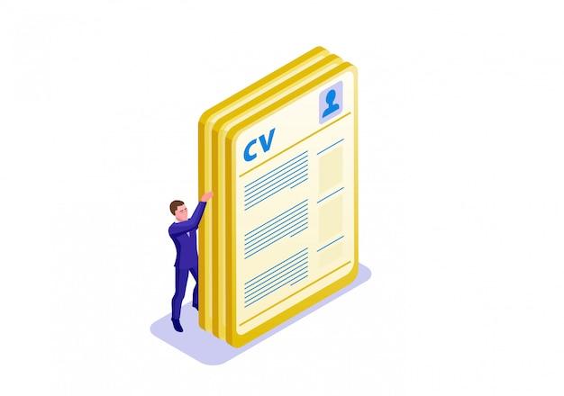 Modello di infografica isometrica cv Vettore Premium