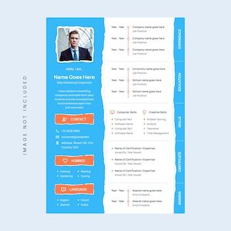 Cv curriculum design template effetto carta strappata