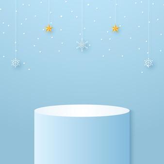 Podio cilindrico ciano con fiocchi di neve e stella appesa per modello mock up per evento natalizio