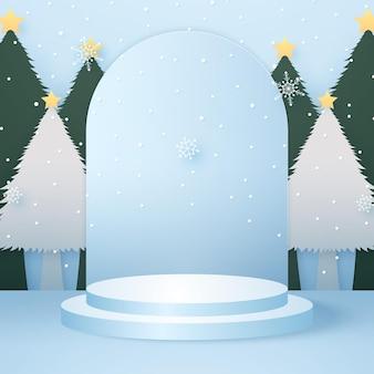 Podio rotondo ciano per lo sfondo del prodotto con nevicate sull'albero e modello di modello per natale