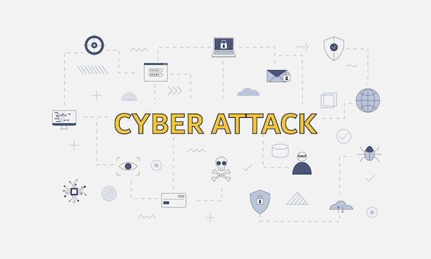 Concetto di attacco informatico con set di icone con grandi parole o testo al centro