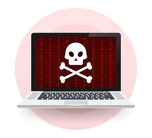 Attacco informatico. phishing dati con amo da pesca, laptop, sicurezza internet. illustrazione di riserva di vettore.