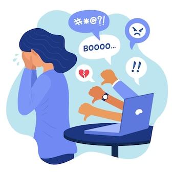 Concetto di cyber bullismo illustrato