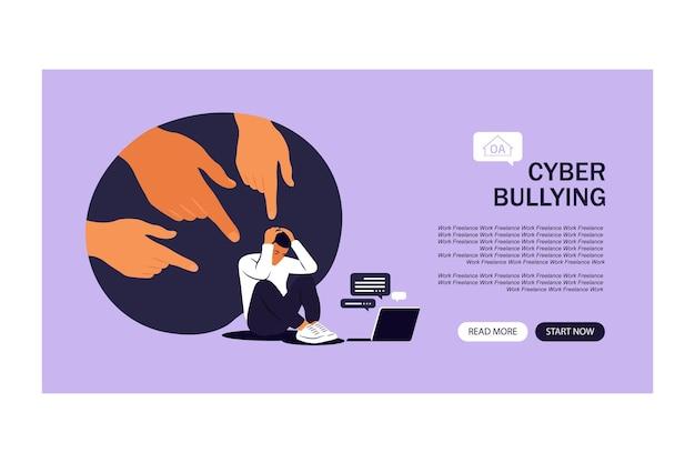 Pagina di destinazione del cyberbullismo. uomo depresso seduto sul pavimento. opinione e pressione della società. vergogna. piatto vettoriale
