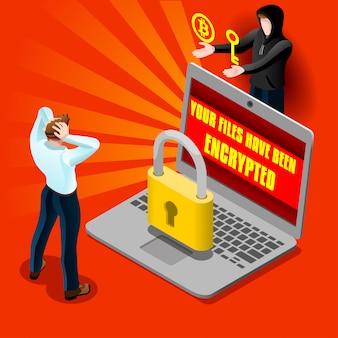 Illustrazione dettagliata isometrica di malware del email di attacco del computer cyber