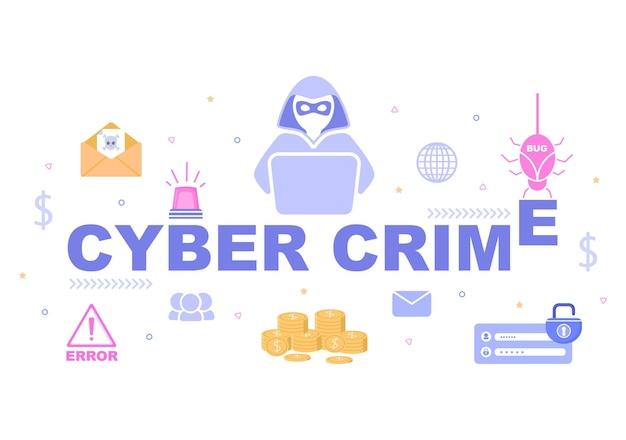 Illustrazione di criminalità informatica phishing rubazione di dati digitali, sistema del dispositivo, password e documenti bancari dal computer