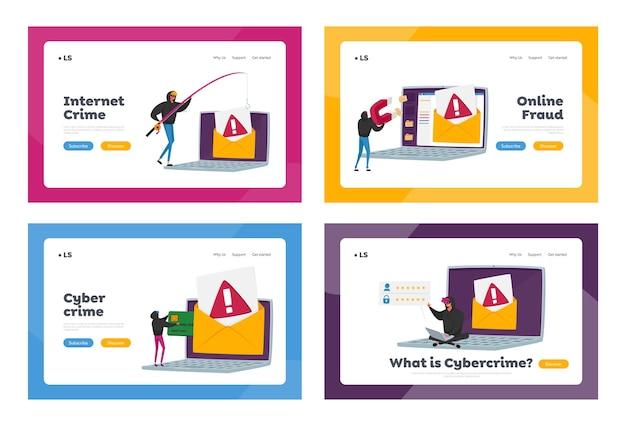 Set di modelli di pagina di destinazione di phishing con password di criminalità informatica. gli hacker bulgar rubano dati personali