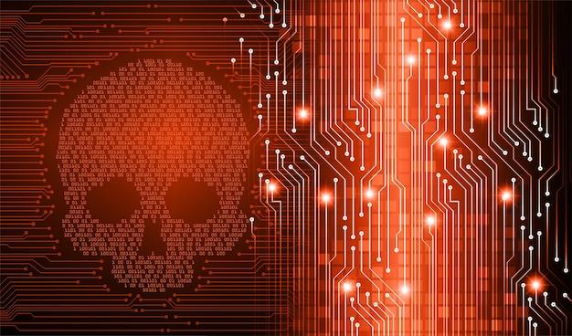 Sfondo di attacco di cyber hacker, vettore di teschio