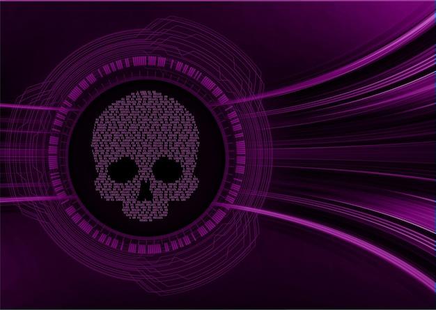 Vettore di teschio di sfondo attacco hacker informatico