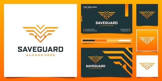 Cyber logo design e biglietto da visita. simbolo del logo per i dati di sicurezza, intelligenza artificiale.