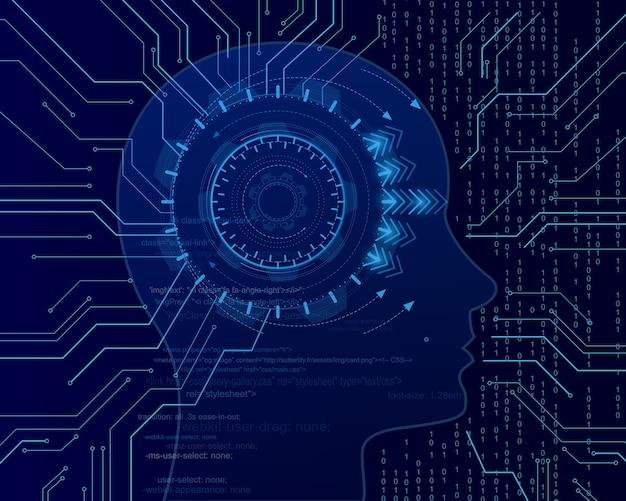 Mente cyber sullo sfondo del codice binario. apprendimento automatico nella forma della testa laterale. concetto virtuale