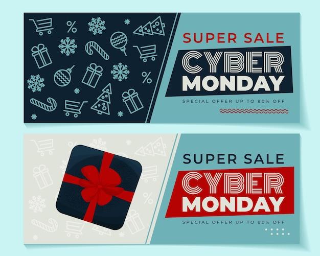 Banner cyber monday 2 con elementi invernali e confezione regalo. illustrazione vettoriale