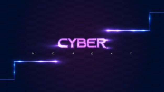 Sfondo di cyber monday con stile futuristico, luci al neon