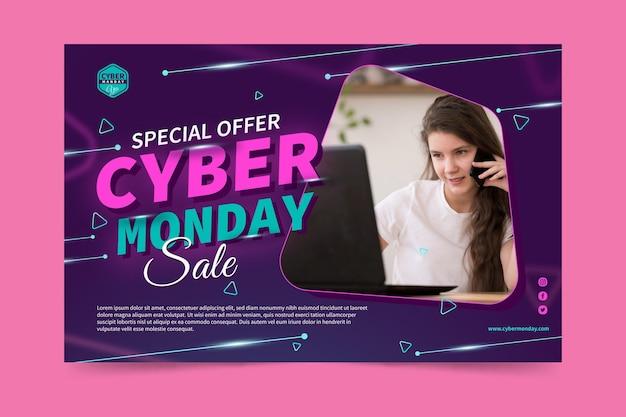 Modello di banner di cyber lunedì con foto