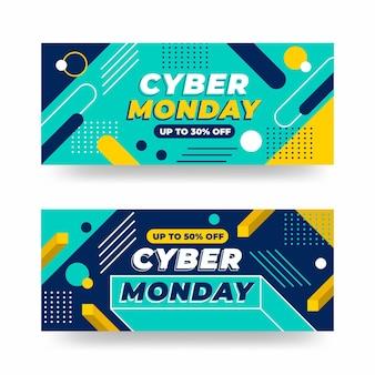 Banner di cyber lunedì in design piatto