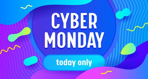 Banner pubblicitario di grande vendita di cyber monday con tipografia su neon blu con motivo astratto.