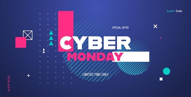 Cyber lunedì grande vendita banner pubblicitario offerta speciale