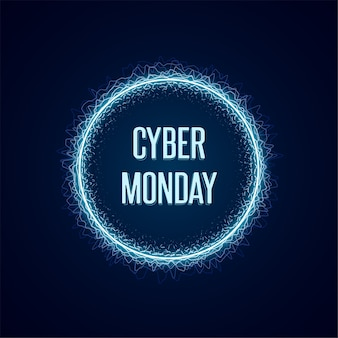 Banner di concetto di cyber monday in stile neon luminoso