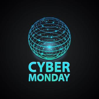 Copertina del cyber monday. icona del logo del segno di rete internet sullo sfondo nero. illustrazione vettoriale