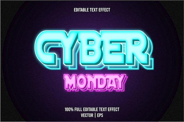 Effetto di testo modificabile cyber monday 3 dimensioni in rilievo in stile neon