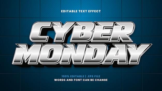 Effetto di testo modificabile cyber monday in moderno stile 3d