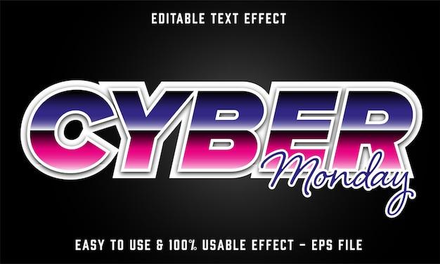 Effetto di testo modificabile del cyber lunedì