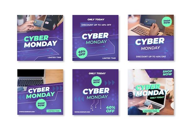 Raccolta di post di instagram di cyber lunedì
