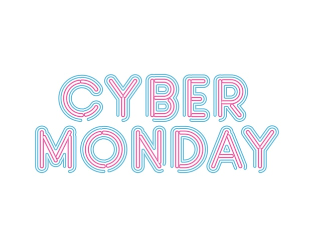 Cyber lunedì scritte in caratteri al neon di disegno di illustrazione di colore rosa e blu