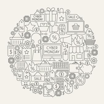 Cyber lunedì linea icone cerchio. illustrazione vettoriale di oggetti di contorno di vendita di acquisto.
