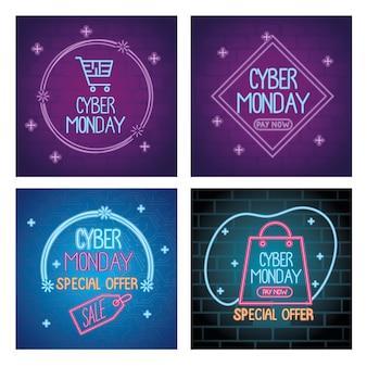 Scritte al neon di cyber lunedì nel disegno dell'illustrazione dei modelli di colori