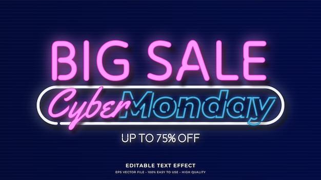 Effetto di testo modificabile premium di tipografia al neon di cyber lunedì