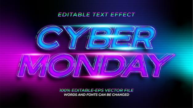 Effetto di testo al neon di cyber monday