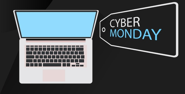 Cyber monday vendita online poster volantino pubblicitario vacanze shopping promozione banner sconto concetto orizzontale illustrazione vettoriale