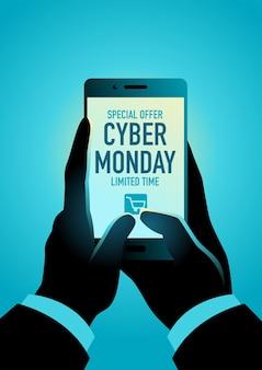 Promozione del cyber monday, mano che utilizza uno smartphone per fare acquisti online, illustrazione vettoriale eps 10