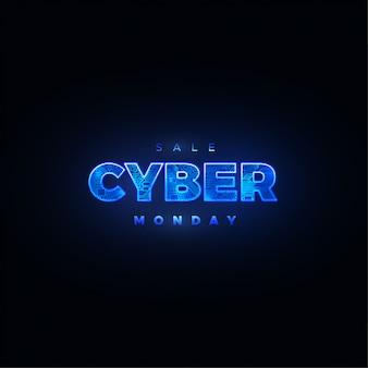Cyber monday. evento di vendita online promozionale. illustrazione della tecnologia. design futuristico dell'etichetta.