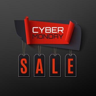 Bandiera dell'estratto di vendita di cyber monday su priorità bassa nera