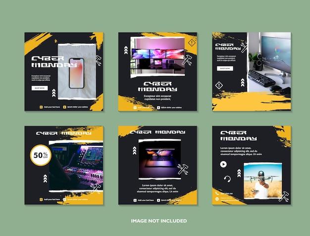 Cyber monday vendita banner layout design social media app mobile per la promozione delle vendite dello shopping