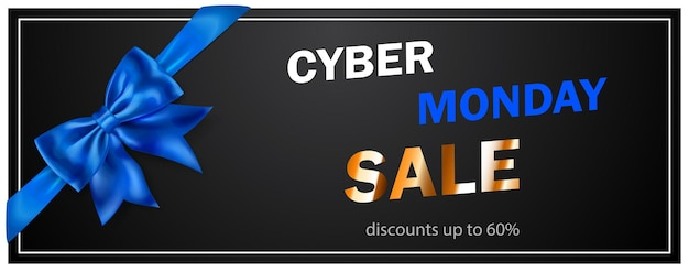 Banner di vendita cyber monday con fiocco blie e nastri su sfondo nero. illustrazione vettoriale per poster, volantini o cartoline.