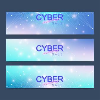 Banner di vendita di cyber monday. Vettore Premium