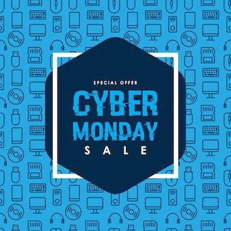 Modello di disegno di vendita di cyber lunedì