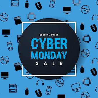 Modello di disegno di iscrizione di vendita di cyber lunedì