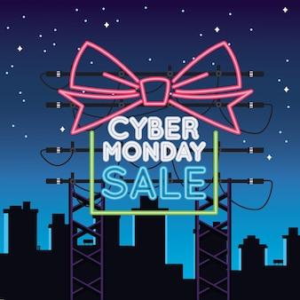 Luce al neon di vendita di cyber lunedì con regalo sulla città
