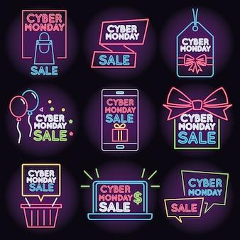 Luce al neon di vendita di cyber lunedì con set di icone