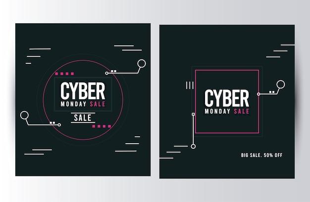 Manifesti di vendita di cyber lunedì con disegno di illustrazione di cornici quadrate