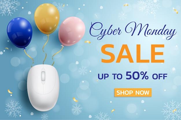 Manifesto promozionale di vendita di cyber monday con sfondo di mouse e palloncini per commercio, affari e pubblicità.